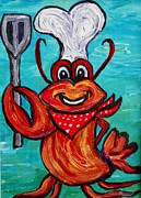 4th July Painting Prints - Grilling Crab Print by Eloise Schneider