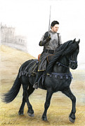 Friesian Mixed Media Posters - Grim Resolution - Knight on Friesian War Steed Poster by Andrea Michael