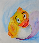 Beverley Harper Tinsley Paintings - Groovy Ducky by Beverley Harper Tinsley
