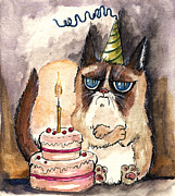 Feline Drawings Posters - Grumpy Birthday Cat Poster by Angel  Tarantella