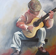 Susan Richardson Paintings - Guitar Man by Susan Richardson