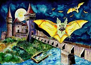 Middle Ages Drawings Prints - Halloween Landscape with Bats and Transylvanian Castle Print by Ion vincent DAnu