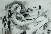 Religious Artist Mixed Media Originals - Hanna Sketching by Esther Newman-Cohen
