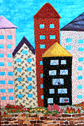 Golden Tapestries - Textiles - Happy City by Maureen Wartski