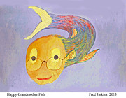 Smiling Mixed Media Posters - Happy Grandmother Fish Poster by Fred Jinkins