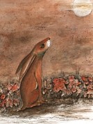 Hare Mixed Media Prints - Hare and Moon Print by Maria Forrester