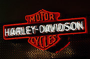 Harley Davidson Framed Prints - Harley-Davidson Motor Cycle Neon Lights 2 Framed Print by Jill Reger