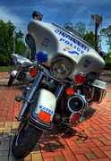 Police Art Prints - Harleys In Cincinnati 1 Print by Tri State Art