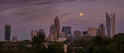 Charlotte Photo Prints - Harvest Moon Over Charlotte Print by Serge Skiba