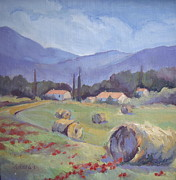 Haybales Painting Prints - Haybales and Poppies of Provence Print by Linda  Wissler