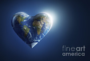 Light Of Heart Framed Prints - Heart-shaped Planet Earth On A Dark Framed Print by Evgeny Kuklev