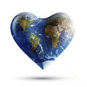 Global Digital Art - Heart-shaped Planet Earth On A White by Evgeny Kuklev