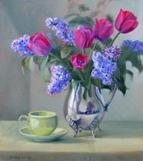 Old Pitcher Painting Prints - Heirlooms Pink Tulips and Lilacs in a Silver Pitcher Print by Bonnie Mason