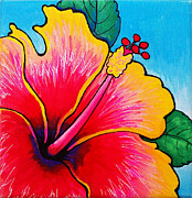 Firecracker Paintings - Hibiscus 01 by Adam Johnson