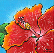 Firecracker Paintings - Hibiscus 06 by Adam Johnson