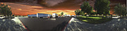 David  Zanzinger - Highway Truck Stop Sunset Panorama