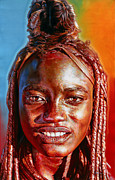 Tanzania Paintings - Himba Super model by Stephen Bennett