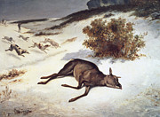 Gustave Courbet - Hind Forced Down In The Snow