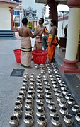 Gods Gifts Framed Prints - Hindu priests prepare offering to gods Framed Print by Imran Ahmed