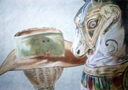 Light And Dark   Drawings - Hobby Horse by Elaine Van Staalduinen