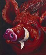 Farm Animal Abstracts Posters - Hog Fan Poster by Shawna Elliott
