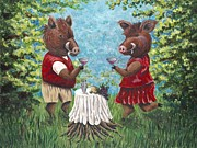 Pig Paintings - Hogtails in the Woods by Shawna Elliott