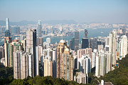 Ifc Prints - Hong Kong harbor from Victoria peak in a sunny day Print by Matteo Colombo
