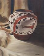 Pottery Paintings - Hopi pottery by Barbara Barber