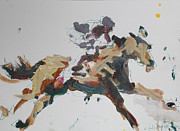 Jockey Paintings - Horse And Jockey by Robert Joyner