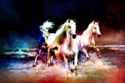 White Stallion Posters - Horse paintings 002 Poster by Catf