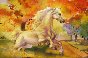 Autumn Poster Framed Prints - Horse paintings 003 Framed Print by Catf