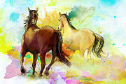 White Horses Painting Framed Prints - Horse paintings 009 Framed Print by Catf