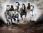 White Horse Paintings - Horse Paintings Thunder by Robert Lafaye