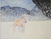 Stallion Framed Prints - Horse Running In The Snow Framed Print by Glenda Crigger
