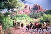 Red Rock Crossing Framed Prints - Horses at Cathedral Rock Framed Print by Bob Bradshaw