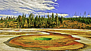 Super Volcano Prints - Hot Spring in Yellowstone National Park Print by Nadine and Bob Johnston
