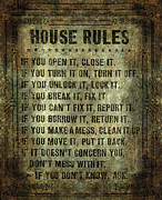 Frame House Prints - House Rules Print by Bruce Stanfield