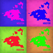Houston Framed Prints - Houston Pop Art Map 1 Framed Print by Irina  March