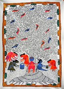 Gond Paintings - Hu 45 by Heeraman Urveti