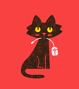 Cute Kitten Digital Art Posters - Hungry hungry cat Poster by Budi Satria Kwan