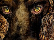 Realism Dogs Art - Hunting Dog Stare by Lil Taylor