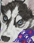 Siberian Husky Paintings - Husky by Megan Cohen
