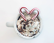 Cocoa Powder Art - I Heart Peppermint Cocoa Hot Chocolate Holiday Decor by Elle Moss