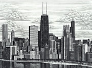 Skylines Drawings Originals - I Love Chicago by Omoro Rahim
