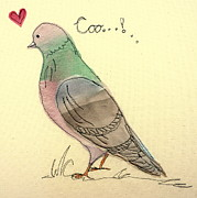 Love Tapestries - Textiles Prints - I love pigeons Print by Hazel Millington