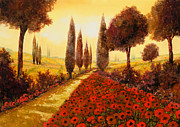 Fields Paintings - I Papaveri In Estate by Guido Borelli