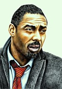 Cop Drawings Posters - Idris Elba plays Luther Poster by Margaret Sanderson