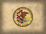 Illinois Prints - Illinois State Flag Art on Worn Canvas Print by Design Turnpike