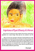 Below Drawings Framed Prints - Importance Of Eyes And Beauty Of A Women Framed Print by Sheshadri A