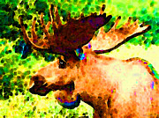 Moose Digital Art Metal Prints - Impressionist Moose - Pop Art By Sharon Cummings Metal Print by Sharon Cummings